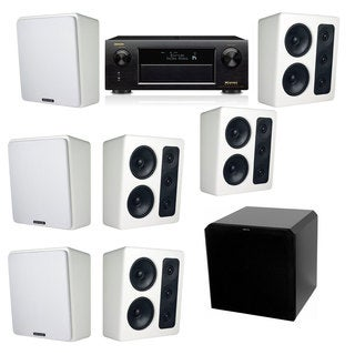 M&K Sound MP300 White Monitor Speaker 7.1 HRS12 Denon AVR-X5200W