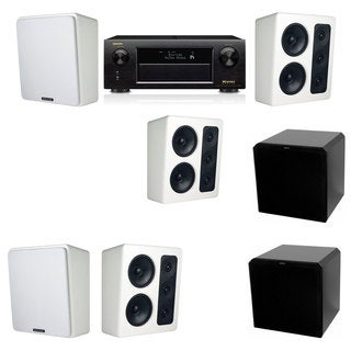 M&K Sound MP300 White Monitor Speaker 5.2 HRS12 Denon AVR-X5200W
