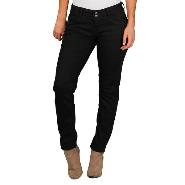 Unionbay Lucy Juniors' Black 2-Button Skinny Pant