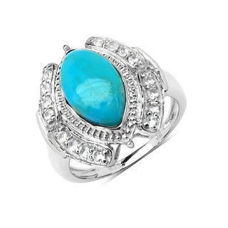 Malaika Sterling Silver 2 3/4ct Turquoise and Aquamarine Ring