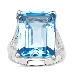 Olivia Leone Sterling Silver 14 1/5ct Blue Topaz Octagon Shape Ring