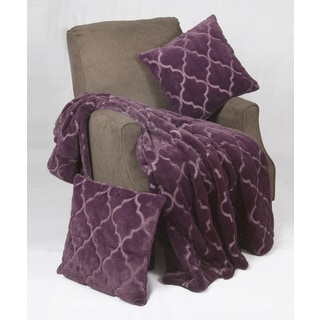 BNF Home Ogee Tatami Faux Fur Throw Blanket with 2 Pillow Shells