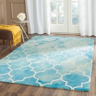 Safavieh Handmade Dip Dye Turquoise/ Ivory Wool Rug (4' x 6')