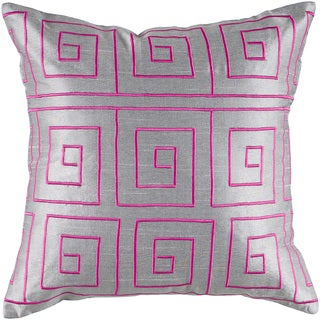 Rizzy Home Silver And Pink Square Spirals Square Pillow Cover