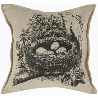 Rizzy Home Beige Birds nest Square Pillow Cover