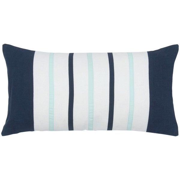Rizzy Home Ivory And Navy Three Stripe Rectangle Pillow Cover
