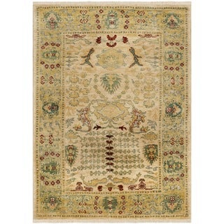 Safavieh Hand-knotted Peshawar Vegetable Dye Ivory/ Gold Wool Rug (5' x 8')