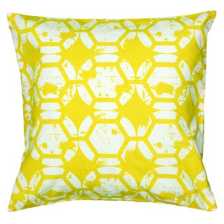 Rizzy Home Yellow And White Square Pillow Cover