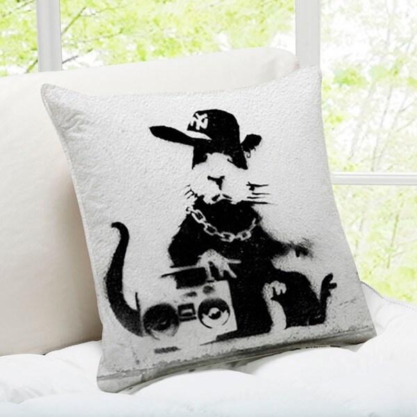 Banksy Art 'Gangsta Rat' London Throw Pillow 16067768