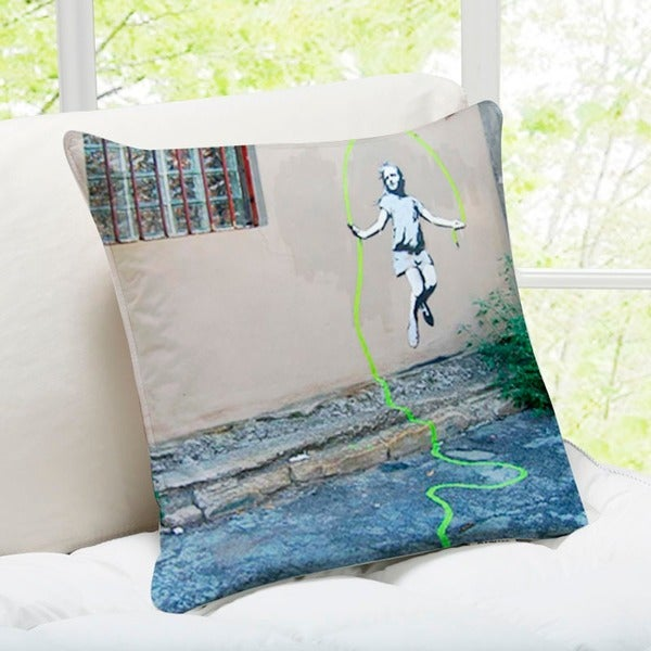 Banksy Art 'Girl Skipping Rope' Brooklyn Throw Pillow