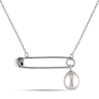 Miadora Sterling Silver Freshwater White Pearl Bar Necklace