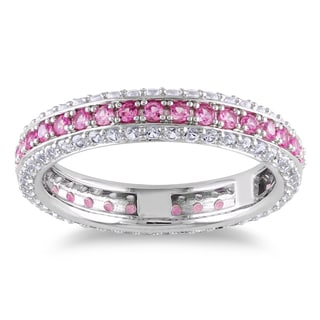 Miadora Sterling Silver Created Pink and White Sapphire Eternity Ring