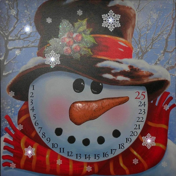 Snowman Advent Lighted Canvas