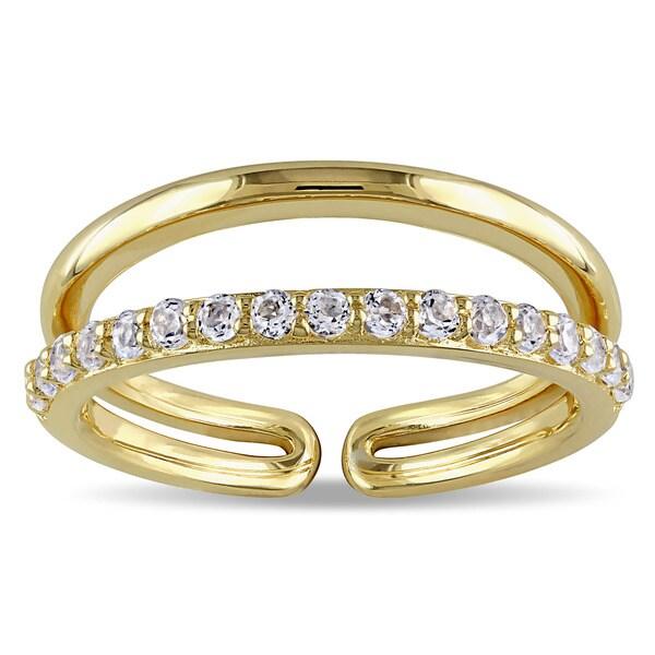 Miadora Yellow Silver White Topaz Ring