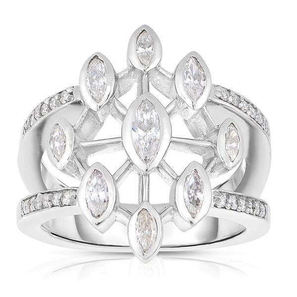 Eloquence Platinum 1ct TDW Diamond Composite Ring (J-K, SI1-SI2)