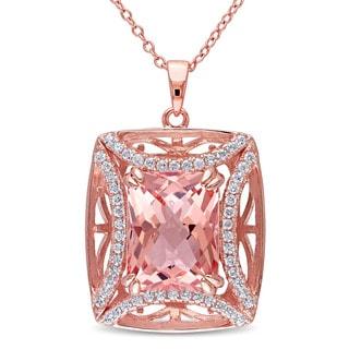 Miadora Rose Plated Silver Morganite and Cubic Zirconia Necklace