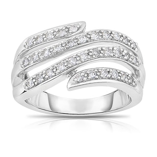 Eloquence 14k White Gold, 1/3ct TDW Diamond Multi-Row Ring (H-I, I1-I2)