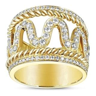 Eloquence 14k Yellow Gold 1ct TDW Diamond Woven Motif Ring (H-I, SI1-SI2)