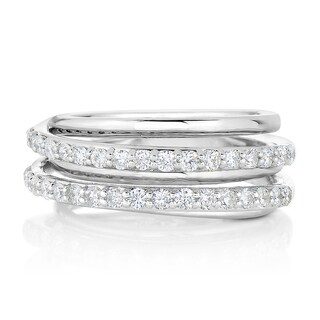 Eloquence 14k White Gold 2/3ct TDW Diamond Multi-Row Fashion Ring (H-I, I1-I2)
