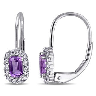 Miadora 10k White Gold Amethyst-Africa and White Sapphire Earrings