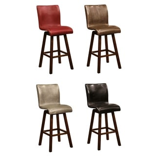 Montgomery Sleek Upholstered Sculpted Swivel Bar Stools (Set of 2)