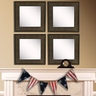 American Made Rayne Bronze and Black Square Wall Mirror Set
