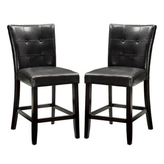 Black Button Tufted Counter Height Dining Stools (Set of 2)