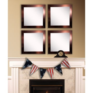 American Made Rayne Shiny Bronze Square Wall Mirror Set