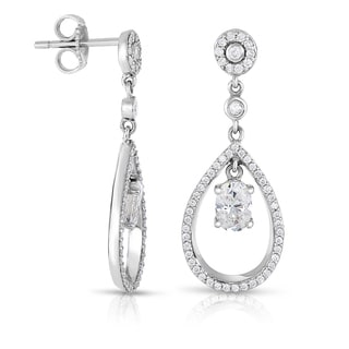 Eloquence 14k White Gold 1 3/8ct TDW Diamond Dangling Halo Earrings (H-I, I1-I2)
