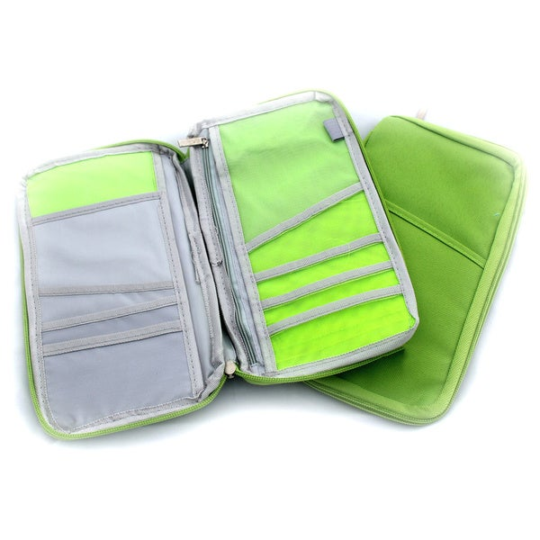 Green Nylon Passport and Travel Document Case