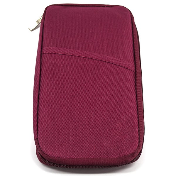 Burgundy Nylon Passport and Travel Document Case