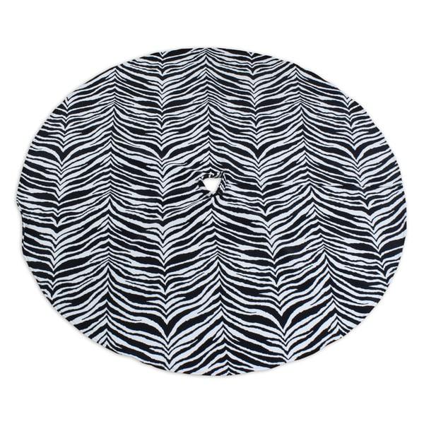 Zebra Black 53-inch Round Hemmed Tree Skirt