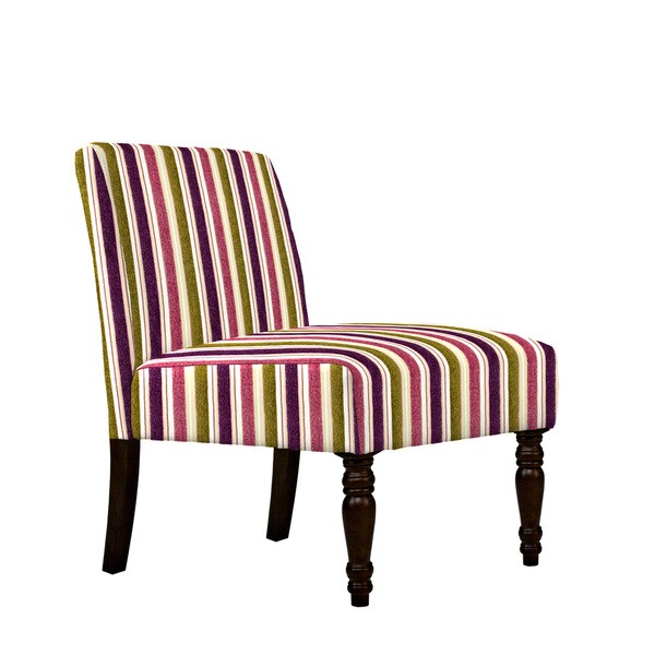 Angelo HOME Bradstreet Modern Vintage Plum And Green Stripe Armless Chair 1