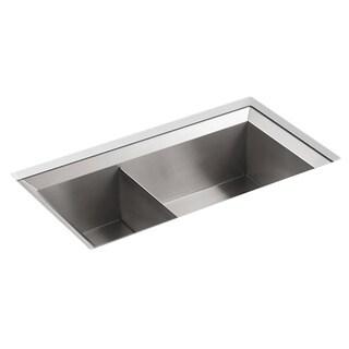 Kohler Poise Undercounter Stainless Steel 33x18x9.5 0-hole Double Bowl Kitchen Sink