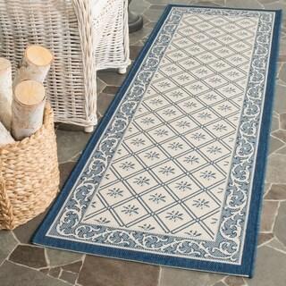 Safavieh Indoor/ Outdoor Courtyard Beige/ Navy Rug (2'3 x 6'7)