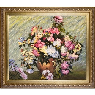 Vincent Van Gogh 'Still Life Vase with Roses' Hand Painted Framed Canvas Art