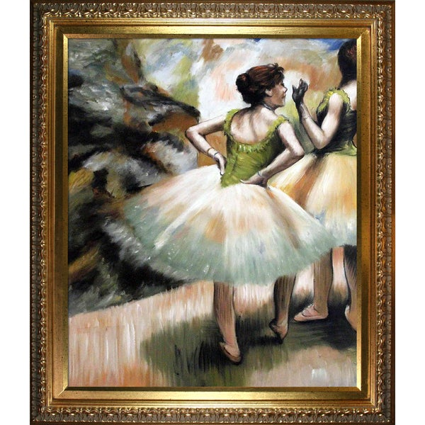 Edgar Degas 'Dancers, Pink and Green' Hand Painted Framed Canvas Art 16069332