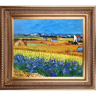 La Pastiche Original 'Harvest with Irises Collage' Hand-painted Framed Canvas Art