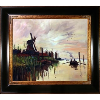 Claude Monet 'Windmill at Zaandam' Hand Painted Framed Canvas Art