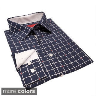 Elie Balleh Milano Italy Men's Slim Fit Floral Check Shirt