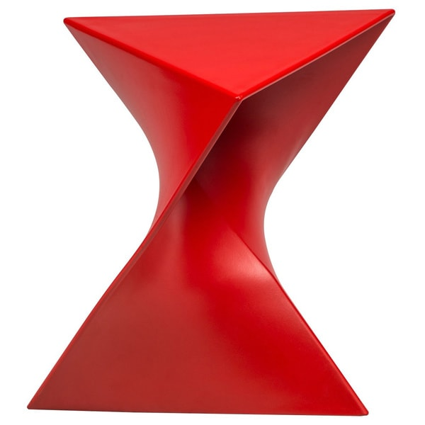 Somette Quinzy Modern Red Polycarbonate Vanity Stool