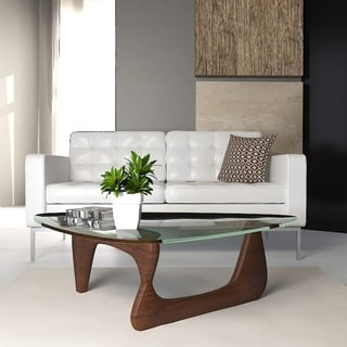 LeisureMod Imperial Triangle Coffee Table with Walnut Wood Base