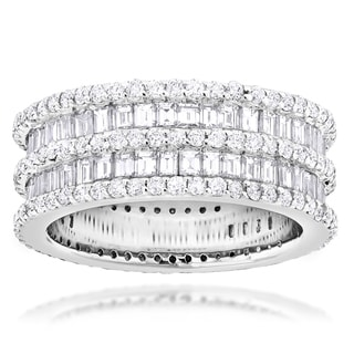 Luxurman Designer 14k White Gold 5ct TDW Multi-cut White Diamond Ring (G-H, VS1-VS2)