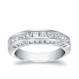 Auriya 14k White Gold 1ct TDW Princess Cut Diamond Channel Band ( H-I, SI1-SI2)