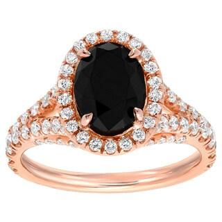 Auriya 18k Rose Gold 2 1/2ct TDW Black Oval Diamond Ring (G-H, VS1-VS2)