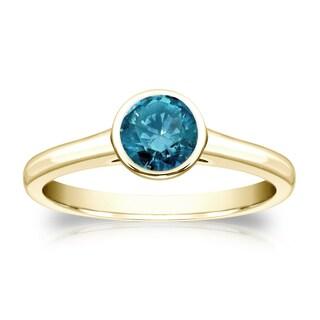 Auriya 14k Gold 1/2ct TDW Round Blue Diamond Solitaire Bezel Ring (Blue, I1-I2)