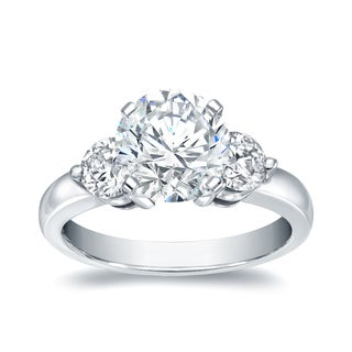 Auriya 14k White Gold 2ct TDW 3 Stone Engagement Ring (H-I, SI1-SI2)