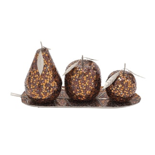 Metal Brown Mosaic Fruit (Set of 4)
