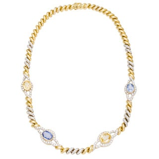 18k Yellow Gold 3 1/4ct TDW Diamond and Sapphire Link Estate Necklace (G-H, VS1-VS2)