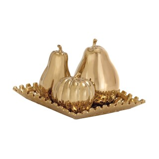 4-piece Goldtone Ceramic Fruit Orbs on a Reflective Tray